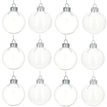 2.5u0026quot; Set Of 12 Clear Glass Ball Christmas Ornaments