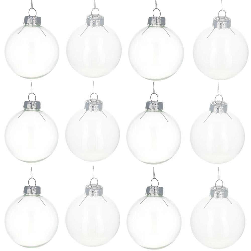 2.5'' Set of 12 Clear Glass Ball Christmas Ornaments