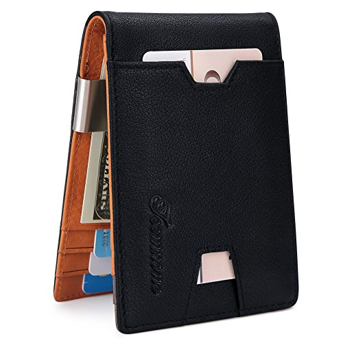 Mens Wallet slim Front Pocket RFID Blocking Card Holder Minimalist Mini Bifold Gift Box by teemzone