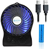 iKKEGOL Mini Portable Wireless Rechargeable Super Strong Wind Fluorescence Cooling Desk Fan - 3 Mode Wind Speed Adjustable (Black)