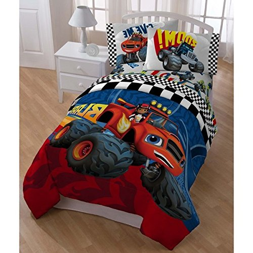 5 Piece Boys Nickelodeon Blaze Monster Truck Theme Comforter Twin Set, Fun Kids TV Show Big Trucks Bedding, Stylish Monster Machine Checkered Flag Flame Themed Pattern, Blue Red Yellow Black White