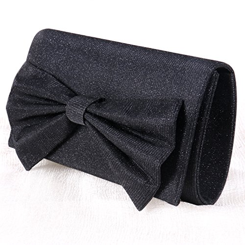 Women Satin Clutch Bow Tie Purse Shiny Wedding Evening Handbag for Party Cocktail Wedding Envelope Purse (Black)