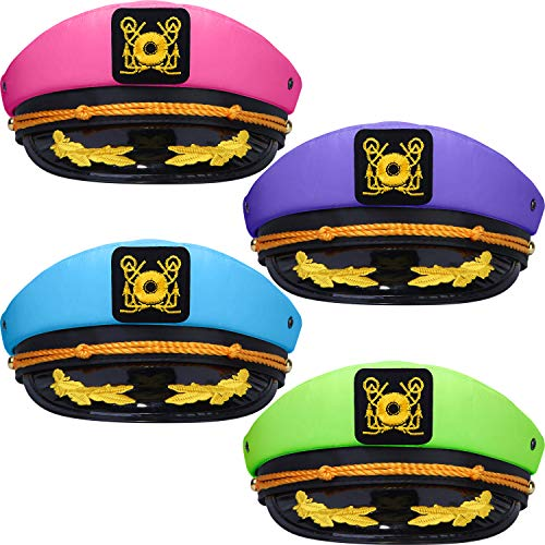 SATINIOR 4 Pieces Neon Captain Hats Adjustable