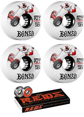 遮る魔術終わり56 mm Bones Wheels ATF SEGクロスSkateboard Wheels with Bones Bearings – 8 mm Bones Reds Precisionスケート定格スケートボードベアリング – 2アイテムのバンドル