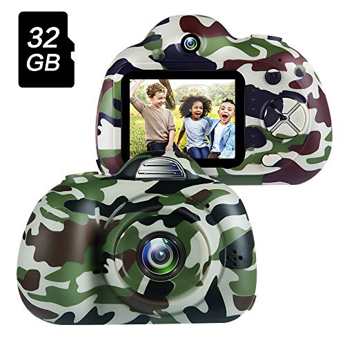 OMWay Summer Outdoor Toys for Boys 3-12 Year Old, Kids Camera for Boys,Best Gift for Toddlers Camping Hiking,Kids Digital Video Camcorders,Camo(32GB SD Card Included).