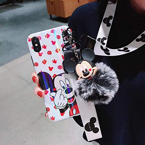 Maxlight Laser Cartoon Mickey Minnie Mouse Stitch Pooh Phone Cases for iPhone 7 8 Plus XS MAX XR X Cute Back Case Lanyard+Fox Ball (White, for iPhone 7plus - Vuitton Note 2 Case Louis