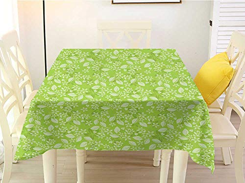 L'sWOW Home Decor Square Tablecloth Green Flourishing Spring Flowers Fresh Summer Meadow Themed Graphic Flora Print Apple Green Pale Green Clean 60 x 60 Inch