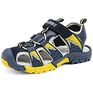 IOO Boys Summer Breathable Athletic Closed-Toe Sandals Yellow Navy Blue 13.5 M Little Kid 32