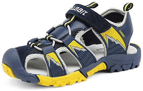 f018a6719c8a IOO Boys Summer Breathable Athletic Closed-Toe Sandals Yellow Navy Blue  13.5 M Little Kid