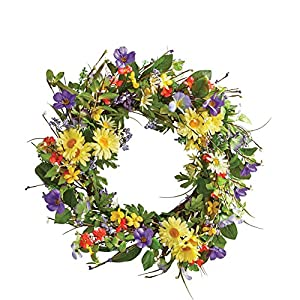 "Collections Etc Wild Daisy Floral Twig Door Wreath, 19 1/2"" Diameter - Home Décor for Any Room 46"