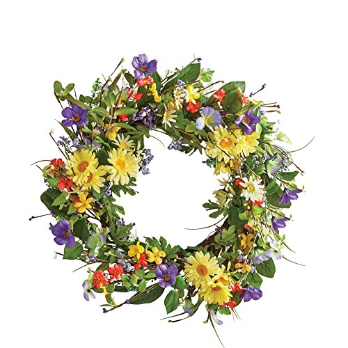 "Collections Etc Wild Daisy Floral Twig Door Wreath, 19 1/2"" Diameter - Home Décor for Any Room"