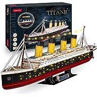 CubicFun 3D 34.6'' Large Model Titanic LED Ship Puzzle Kits