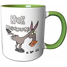 3dRose Dooni Designs Cause Awareness Ribbon Designs - Kick Mesothelioma In The Ass Awareness Ribbon Cause Design - 11oz Two-Tone Green Mug (mug_115631_7)