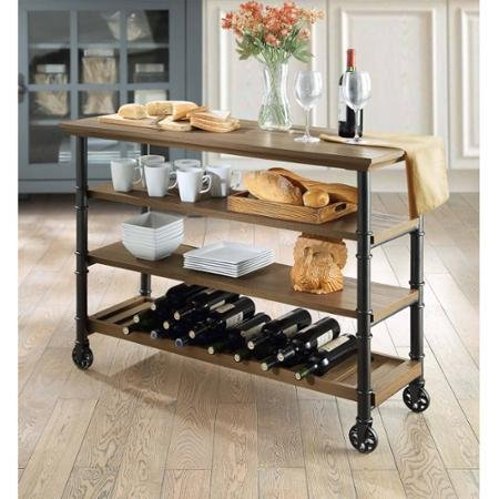 Modern Classic Design Generic Whalen Santa Fe Kitchen Cart with Wine Rack Rustic Brown Finish, Brown by T4U888Generices