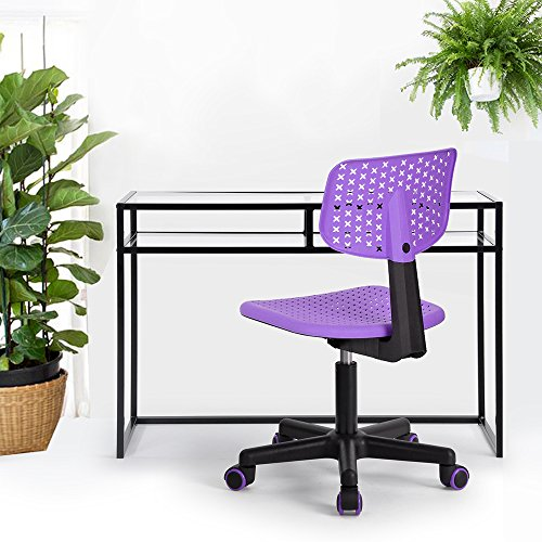 HOMY CASA Homycasa Children Kids Chair, Low-Back Armless Adjustable Swivel Ergonomic Home Office Student Computer Desk Chair, Hollow Star in color PURPLE by HOMY CASA