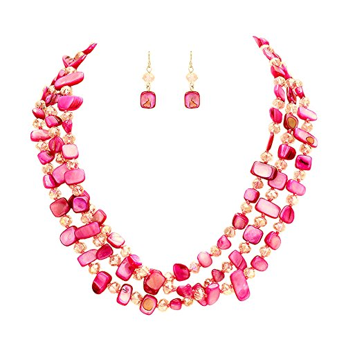 (Hush Bright Pink 3 Strand Individually Knotted Shell and Glass Bead Necklace 17 Inch with Earrings)