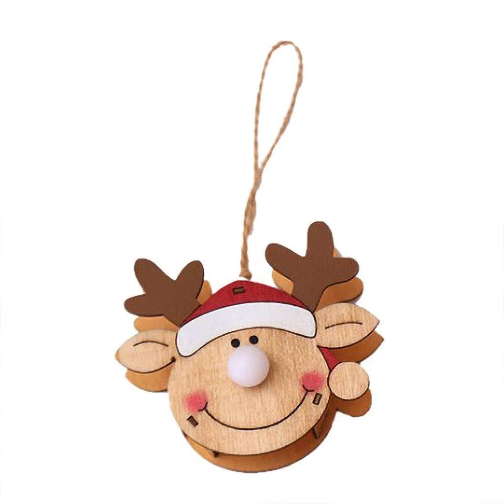 DIY Deko Weihnachtsschmuck Baumschmuck Weihnachtsbaum Ornaments Christbaumkugeln H/ängend Bell Aufh/ängen Dekoration Schwarz goodjinHH Weihnachten Holz LED Licht Anh/änger
