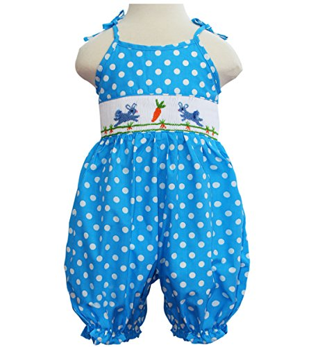 Easter Bunny Bubble - Angeline Baby Girls Easter Bunny Smocked Polka Dot Aqua Bubble Romper 9M