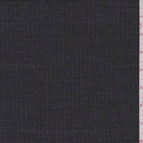 Black/Grey Chevron Wool Blend Suiting, Fabric by The Yard - Wool Blend Suiting