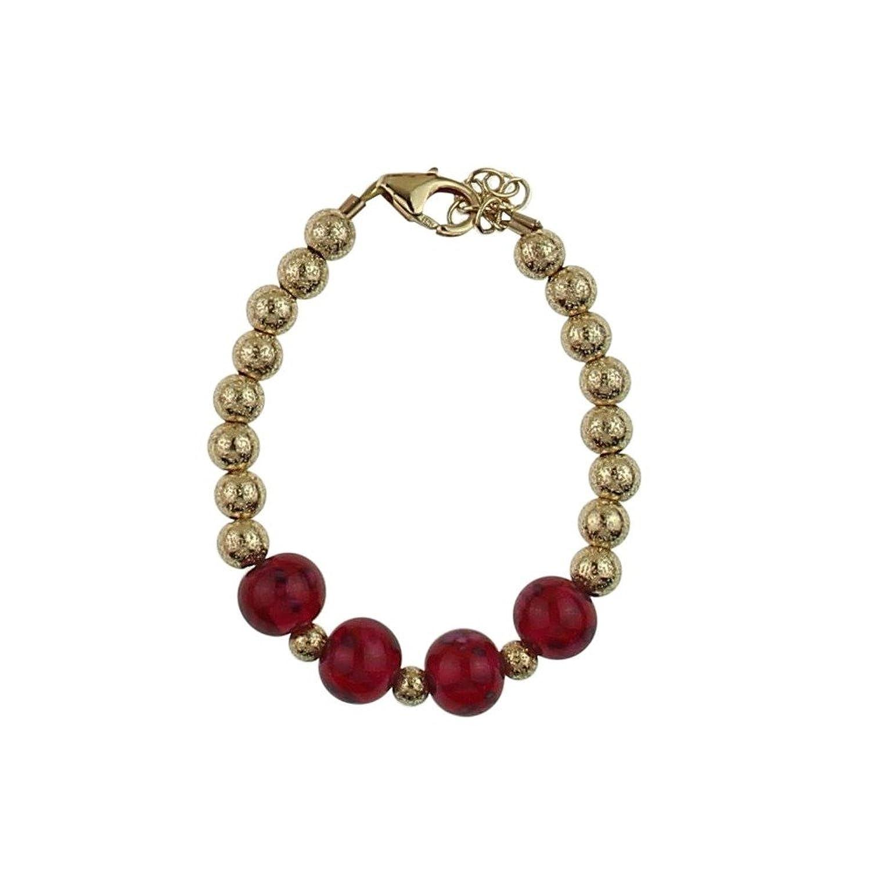 Cristal sueño dorado con purpurina cuentas con rojo Pulsera de perlas de cristal flor bebé niña (B1742)