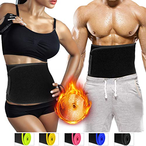Biange Waist Trimmer Belt for Men & Women, Sweat Waist Slimmer Trainer, Low Back Lumbar Support, Stomach Wraps for Workout Weight Loss, Adjustable Stomach Belly Fat Burner, 2 Size Up to 47 / 60