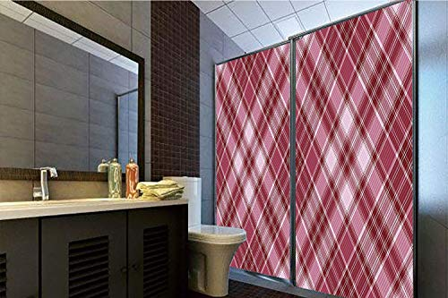 (Horrisophie dodo 3D Privacy Window Film No Glue,Checkered,Cross Checkered Pattern with Diagonal Strips and Rhombus Shapes Decorative,Dried Rose Ruby and White,70.86