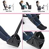 Travel Footrest for Airplane, Portable Foot Rest Hammock Long Flight Leg Rest Adjustable Height Feet Rest Under Desk Hammock for Office Home Plane Train (Black)
