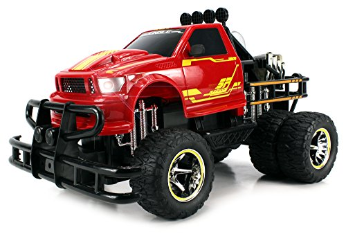 Velocity Toys Jungle Fire TG-4 Dually Electric RC Monster Truck Big 1:12 Scale RTR w/ Working Headlights, Dual Rear Wheels (Colors May Vary)