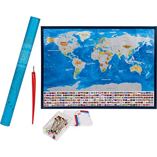 World Scratch Off Map Poster Of The World - with US States and Country Flags | Perfect Gift for Travelers | Includes Scratching Tool and Location Marking Pins