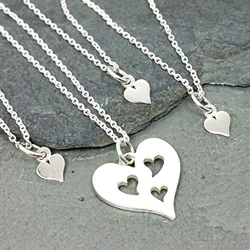 Mother and Three Daughters Hearts - Four Necklace Set - 925 Sterling Silver
