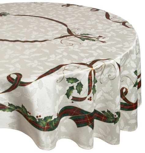 Lively Leaves Desk Topper - Lenox Holiday Nouveau 60 inches by 104 inches Tablecloth, Oval
