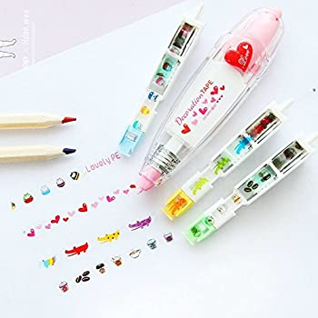 Correction Tape Set (add 3 Replaceable Cores) for School & Office Supplies, Lovely Kawaii Cute Creative Special Push-style design Correction Tape