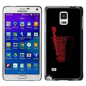 TopCaseStore / la caja del caucho duro de la cubierta de protección de la piel - Cool Word Art Black Red Crunch Bang - Samsung Galaxy Note 4 SM-N910