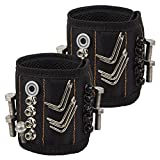Magnetic Wristband(2 Pack), Aiguozer 5 Rows 10 Powerful Magnets Wristband for Holding Screws Nails Drill Bits, Best Fathers Day Gift