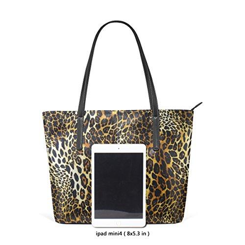 COOSUN Leopard Haut Hintergrund PU Leder Schultertasche Handtasche und Handtaschen Tasche für Frauen