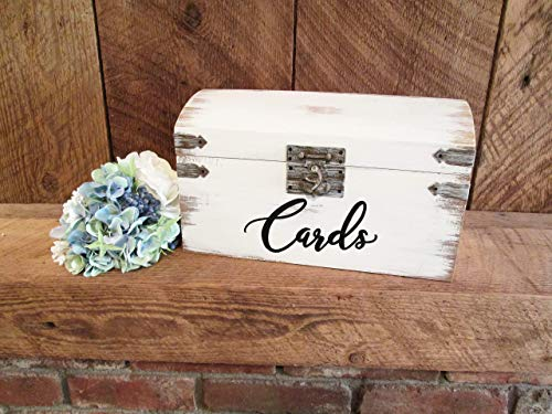 White distressed wedding card box- CUSTOMIZE WORDING AND FONT COLOR- calligraphy card box with slot- rustic wedding decor, shabby chic card ()