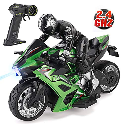 Liberty Imports 2.4G 1/10 High Speed Cross Country RC Remote Control Stunt Motorcycle with Riding Figure 1:22 Scale