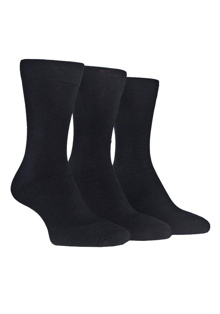 Farah - 3 Pack Mens Cushioned Padded Sole Cotton Dress Crew Socks with Designs (7-12 US, CS133BLK (Plain))