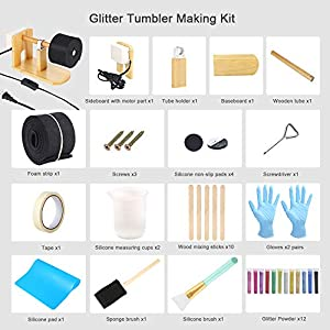 Sntieecr Epoxy Glitter Tumbler Full Kits with Tumbler Turner Machine, 12 Pieces Glitter Powder, 20 Pieces Epoxy Tools for DIY Epoxy Resin Craft Tumblers