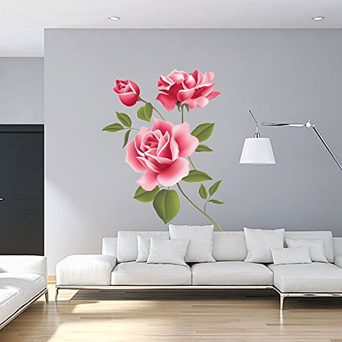 Wall Decal For Painting Supplies & Wall Treatments ,  PVC Vinyl Large Sticker With Rose Flower , Removable & Waterproof Art Wallpaper DIY Murals Kids Nursery Baby For Living Room , Bedroom 27.7*19.7