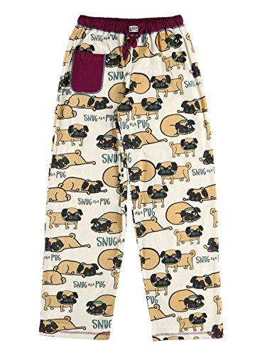 Snug As A Pug Women's Pajama Pants Bottom by LazyOne | Pajama Bottom for Women (Large)