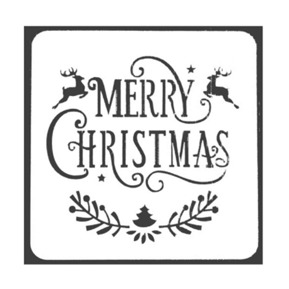 JUNGEN 13 * 13cm Plástico dibujo plantillas de pintura diseño de navidad molde para DIY álbumes de recortes, diario, cuaderno: Amazon.es: Hogar