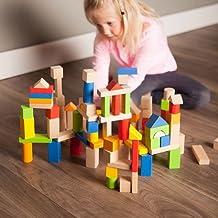 Fat Brain Toys 100 pc Block Set - Timber Blocks - 100 Piece Wooden Block Set