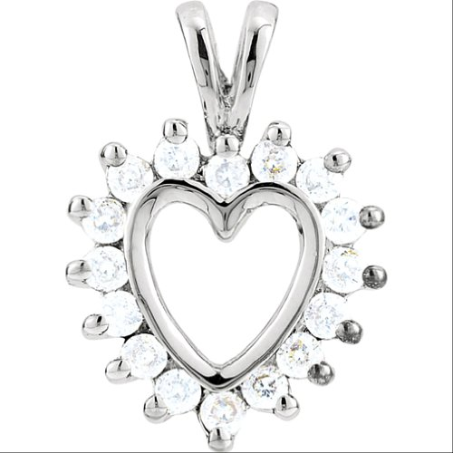 14k White Gold Diamond Halo Heart Pendant (GH Color, I1 Clarity, 1/3 Cttw) by The Men's Jewelry Store (for HER)