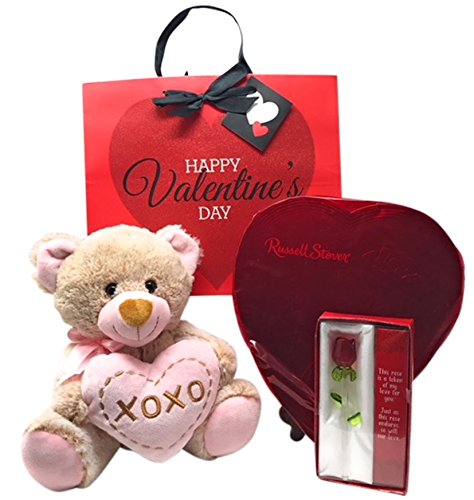 Forever Chocolate (Best Valentine's Day Gift Bundle - Includes 4 Items: Heart Shaped Box of Russell Stover Assorted Chocolate's, Plush Teddy Bear, 5