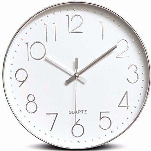 オフィス用寝室用リビングルーム用静かな壁時計、シルバー B07DW8ZLBS 銀 銀