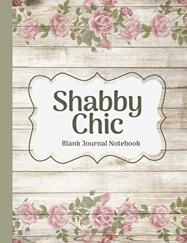 Shabby Chic Pink Roses & Sage Leaves on Wood Blank Journal Notebook (Vintage, Country & Shabby Chic ()