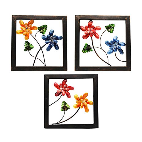 YOUKOOD Galvanized Colorful Oil Painting Flower Wall Décor Set of 3 Metal Flower Wall Art Plaque Metal Iron Decorative Painting (Colored Flower)