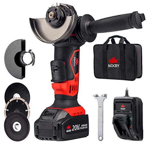 "NoCry 20V Cordless 4 1/2"" Angle Grinder Kit - 10,000 RPM Max Speed; 4.0 Ah Battery, Fast Charger, Carrying Case & 7 Accessories Included"