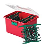 Homz Holiday Light Storage Container with 4 Green Cord Wraps, Clear Lid, Latches, Set of 6, Red Base
